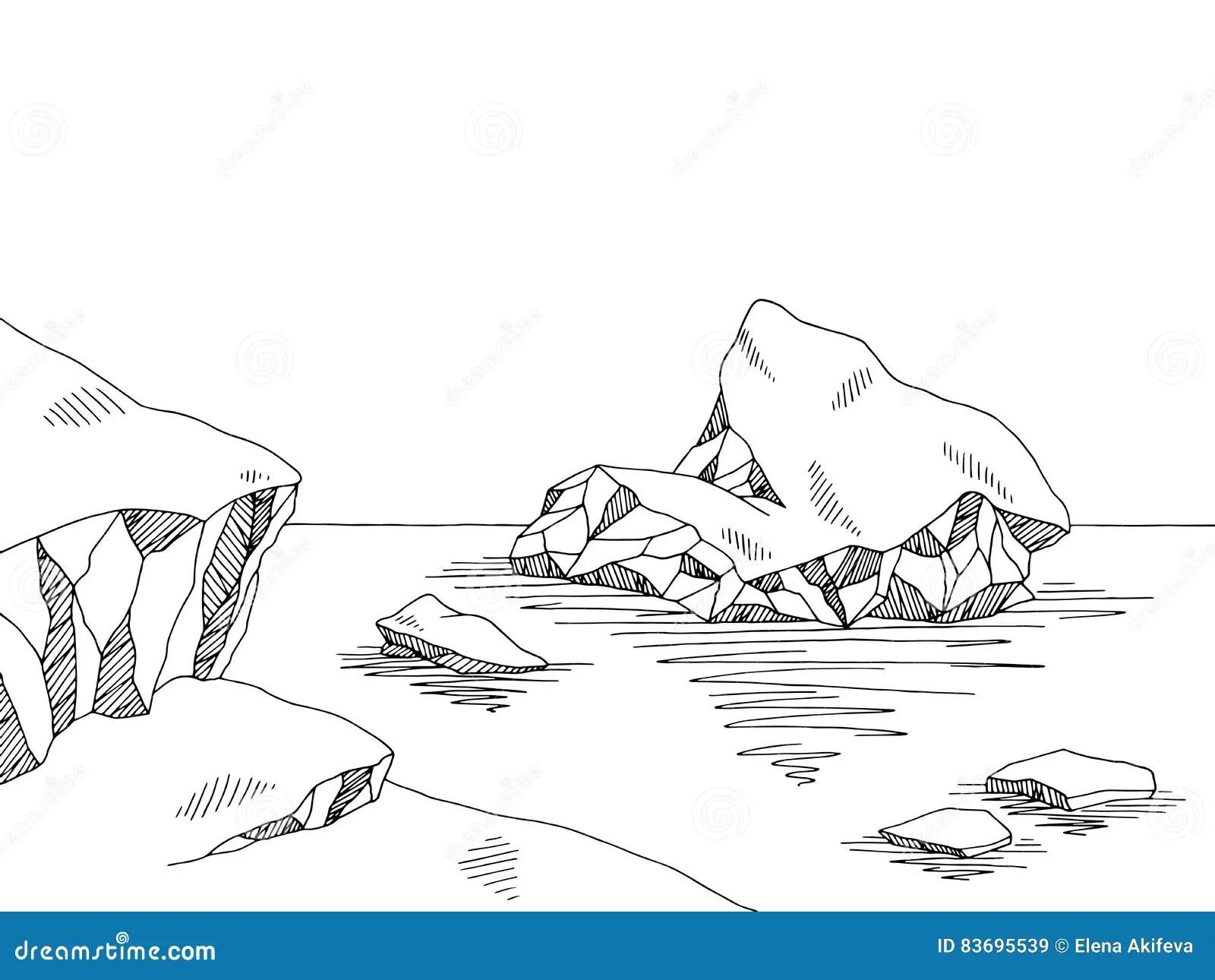 Iceberg Graphic Black White Sketch Illustration Cartoon