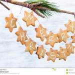 Iced Gingerbread Cookies Hanging Off A Branch Simple Diy Christ Stock Photo Image Of Biscuit Merry 58024914