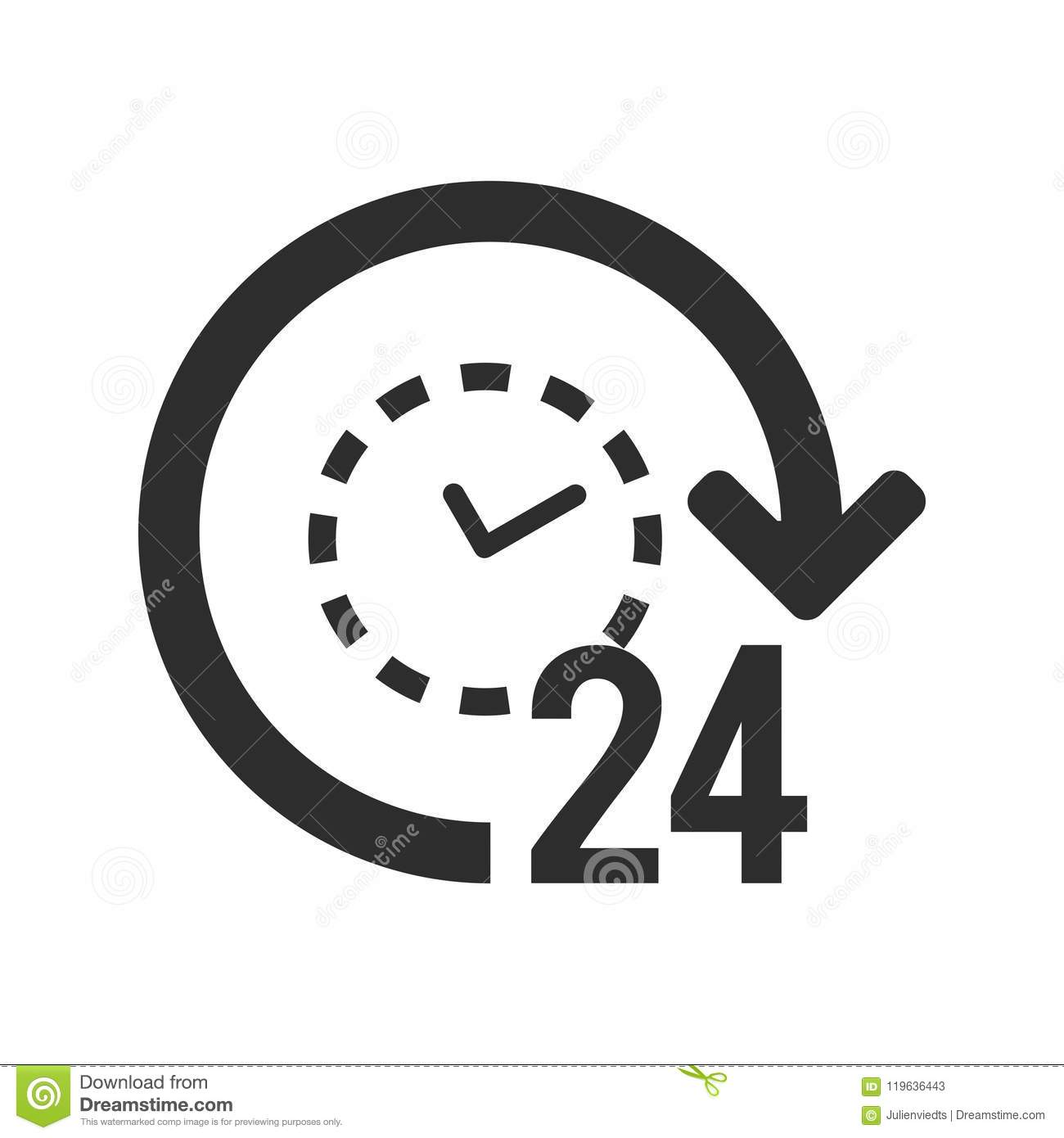 24 7 Icon 24 Hours Open Symbol Clock With Arrow Sign