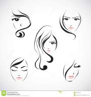 icon set of beautiful womans face