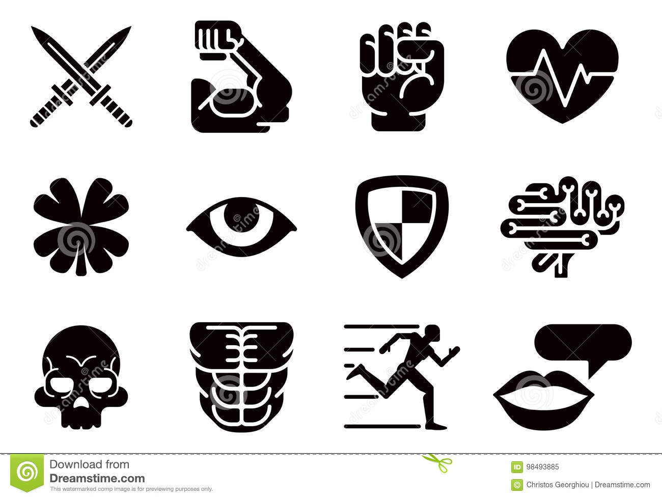 Icon Set Character Game Attributes Stock Vector