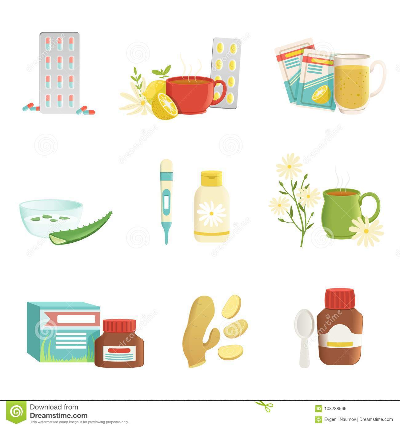 Icon Set Of Cold And Flu Treatment Objects Tablets Tea With Lemon And Herbs Thermometer