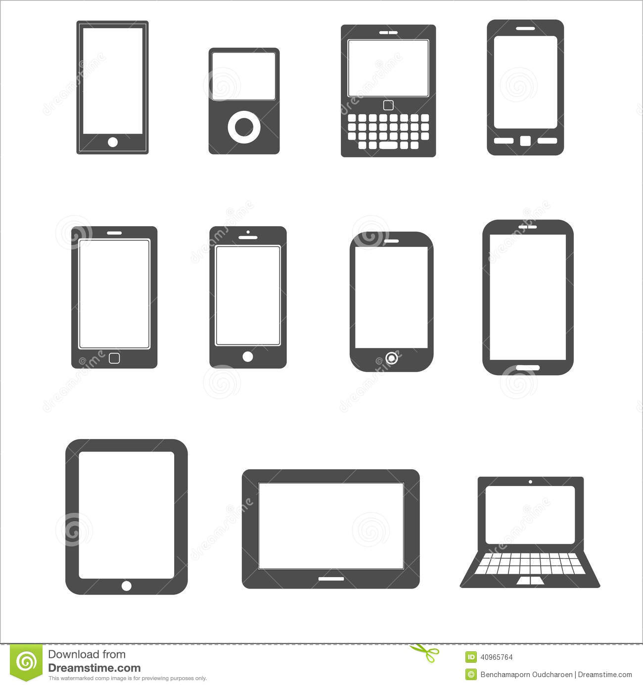 Icon Set Of Mobile,tablet Device For Communication Stock