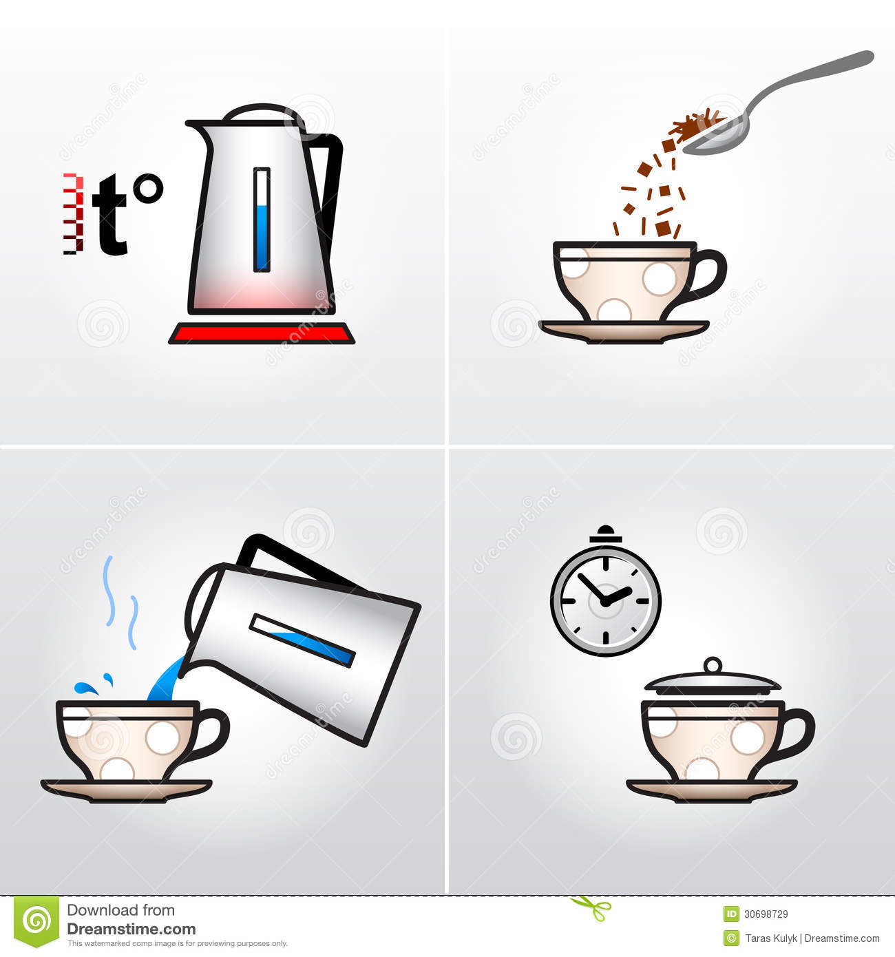 Icon Set For Process Of Brewing Tea Coffee Etc Royalty