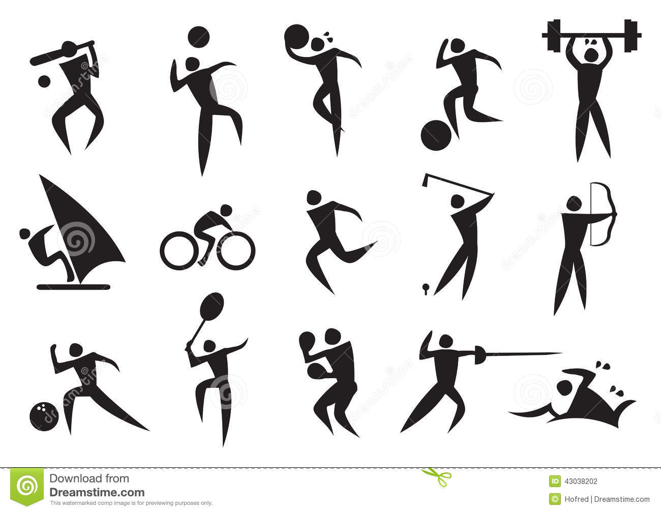 Icon Of Sport Man In The Different Activities Stock Vector