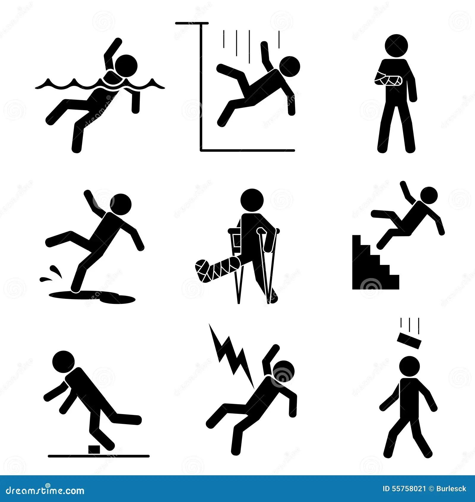 Icone Di Incidente E Di Sicurezza Illustrazione Vettoriale