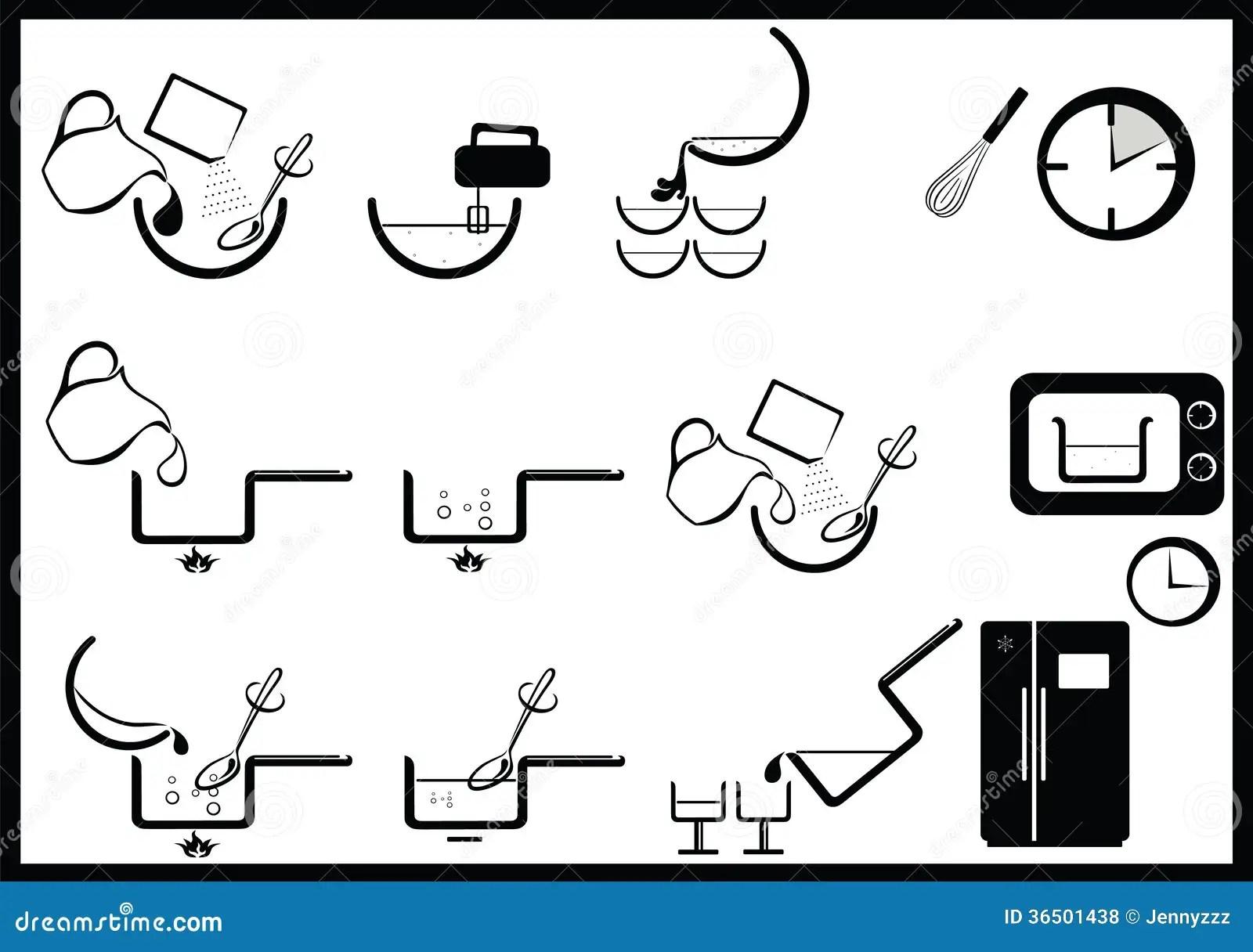 Icone Di Istruzioni Di Cottura Illustrazione Vettoriale