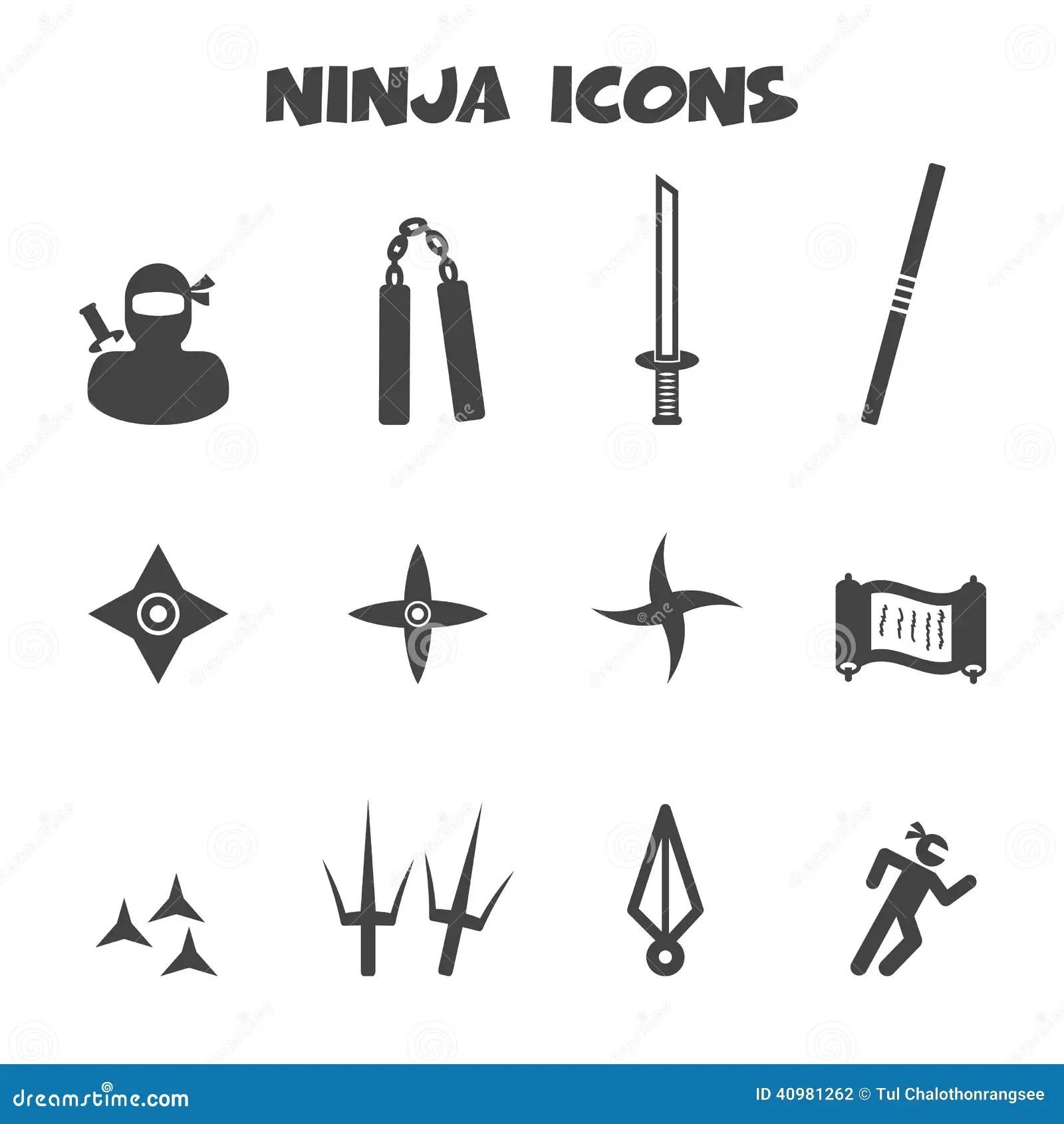 Icone Di Ninja Illustrazione Vettoriale Illustrazione Di