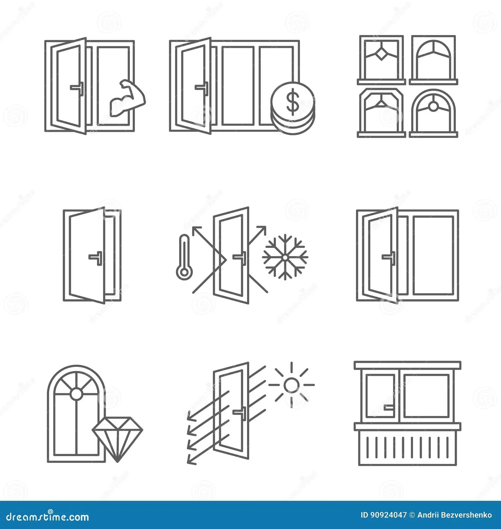 Icono De Windows Fijado Con La Puerta Y El Balcon Lineas