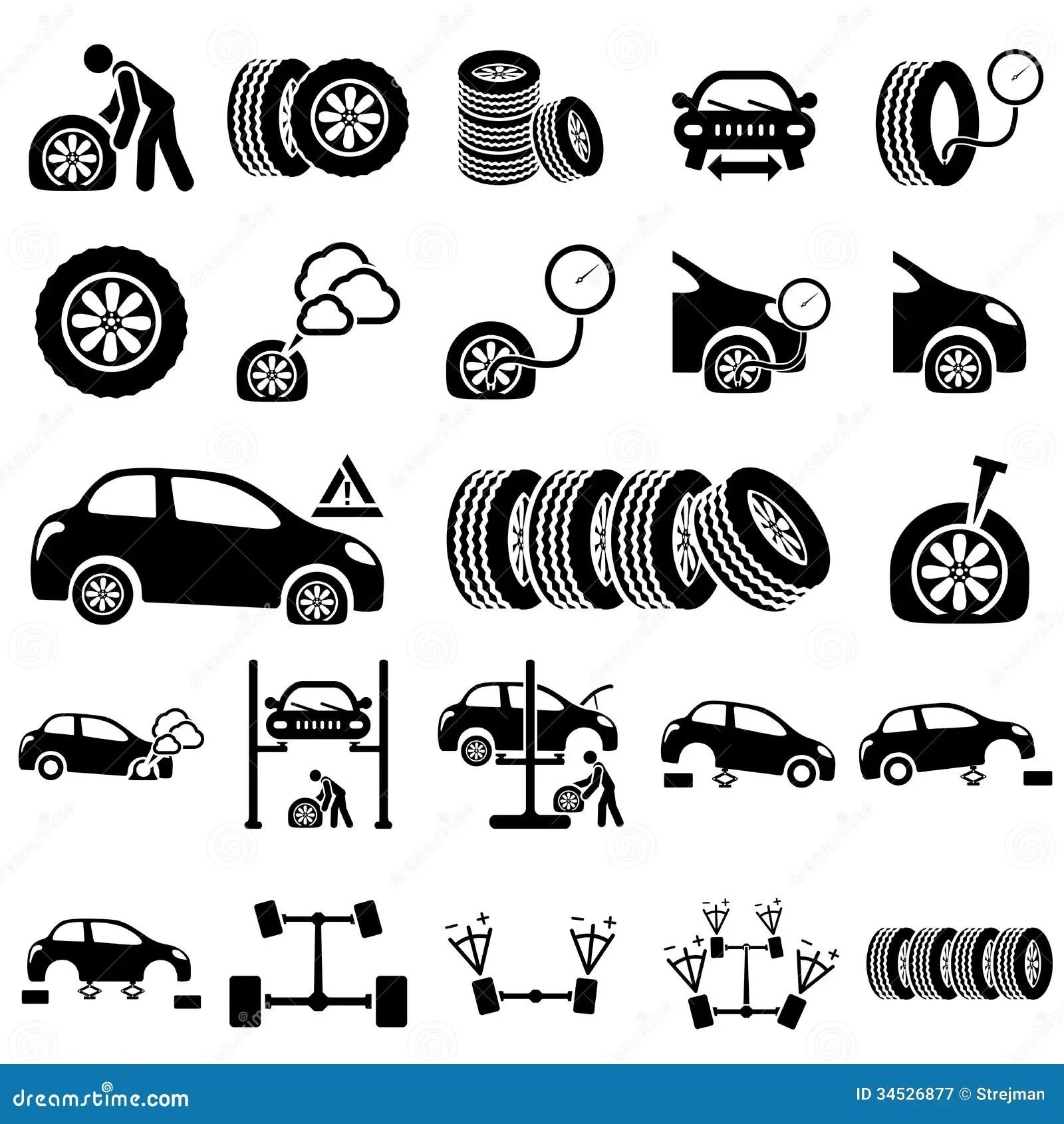 Iconos De La Reparacion Auto Ilustracion Del Vector