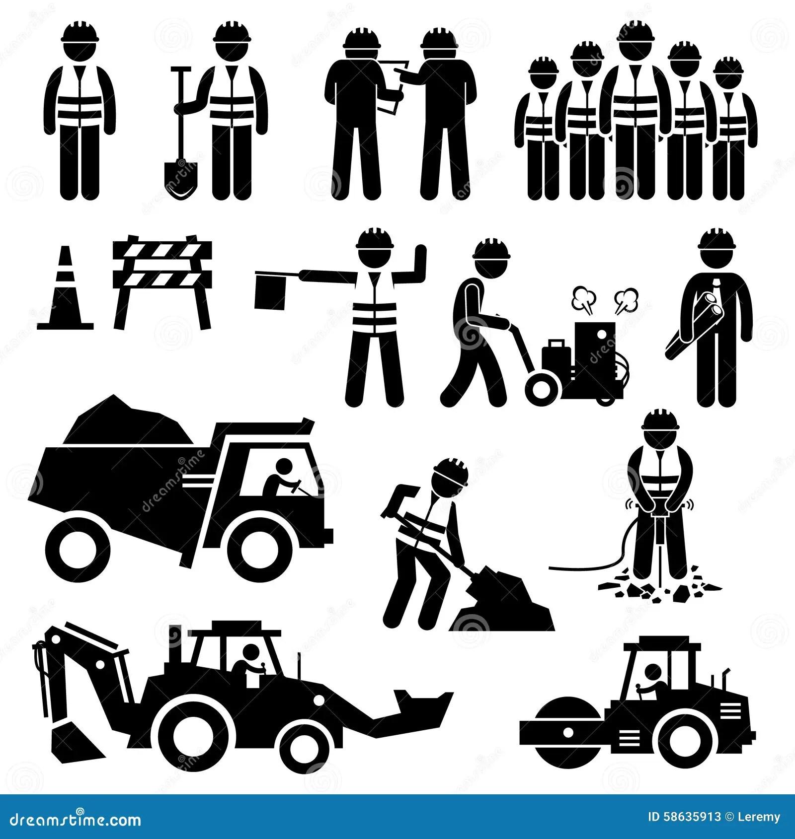 Iconos De Stick Figure Pictogram Del Trabajador De