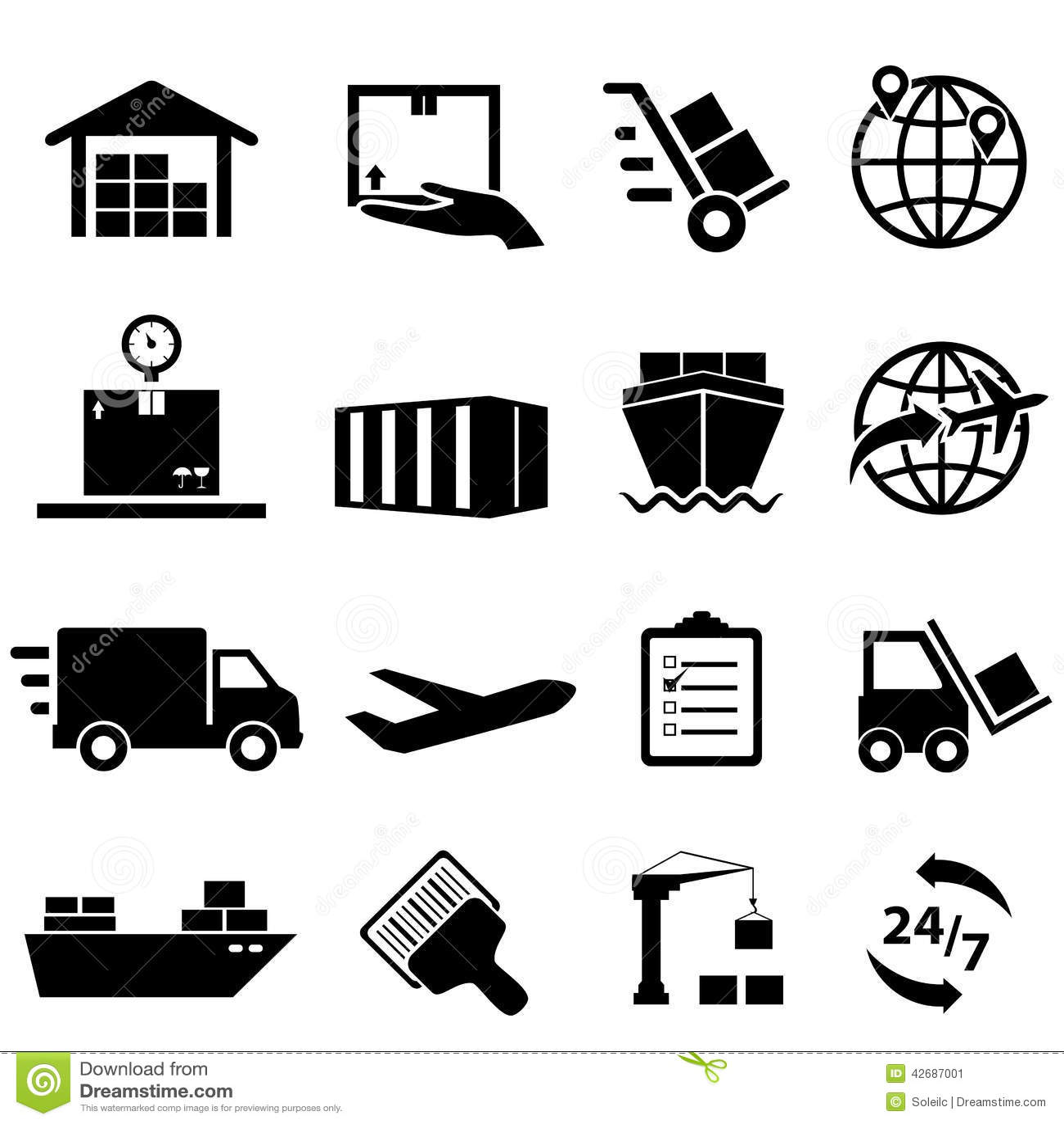 Iconos Del Envío Y De La Logística Ilustración del Vector