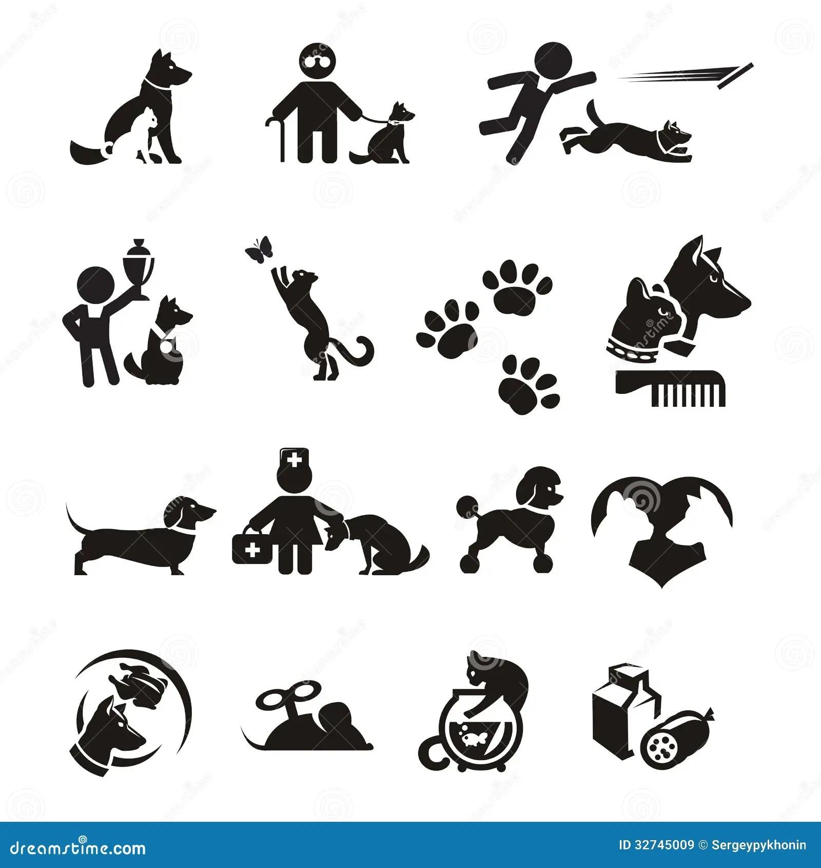 Iconos Del Perro Y Del Gato Fijados Ilustracion Del Vector