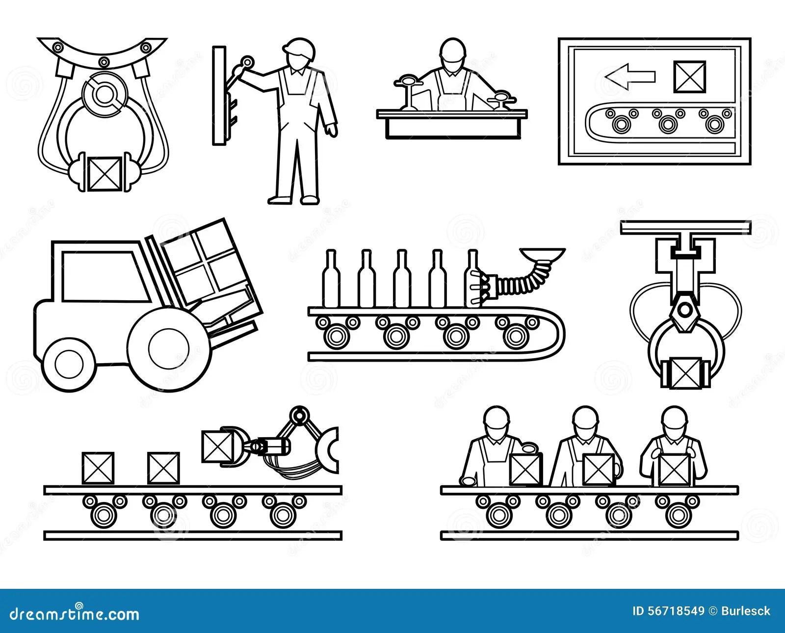 Iconos Del Proceso Industrial Y De Fabricacion Fijados