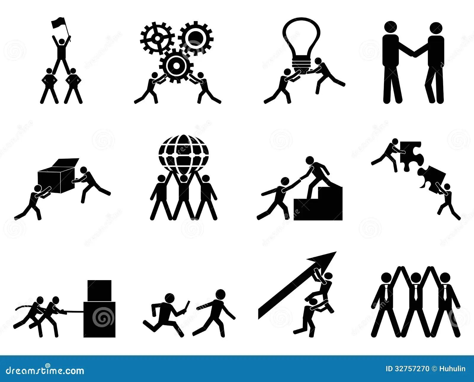 Iconos Del Trabajo En Equipo Fijados Ilustracion Del