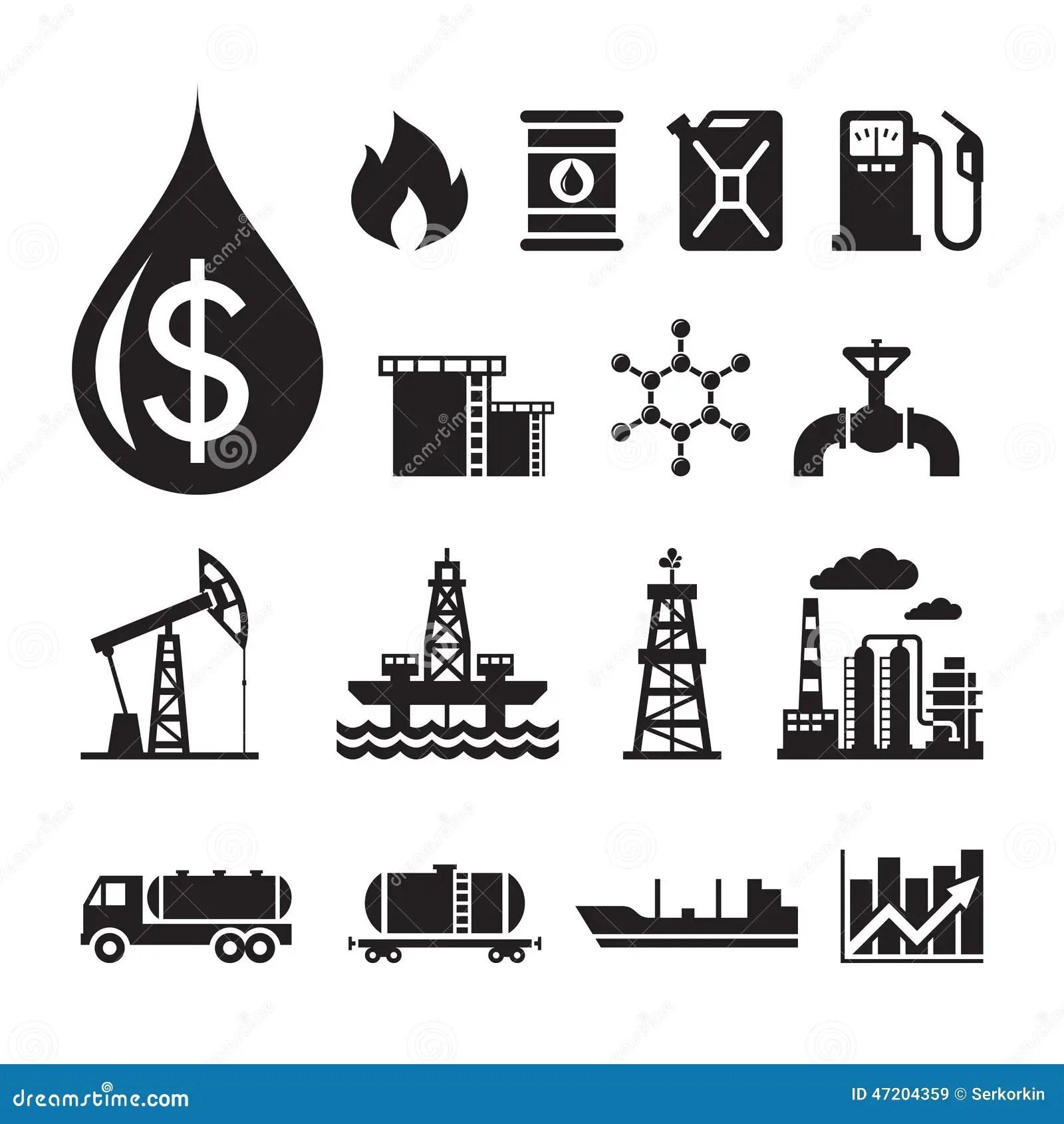16 Iconos Del Vector De La Industria De Petroleo Para La