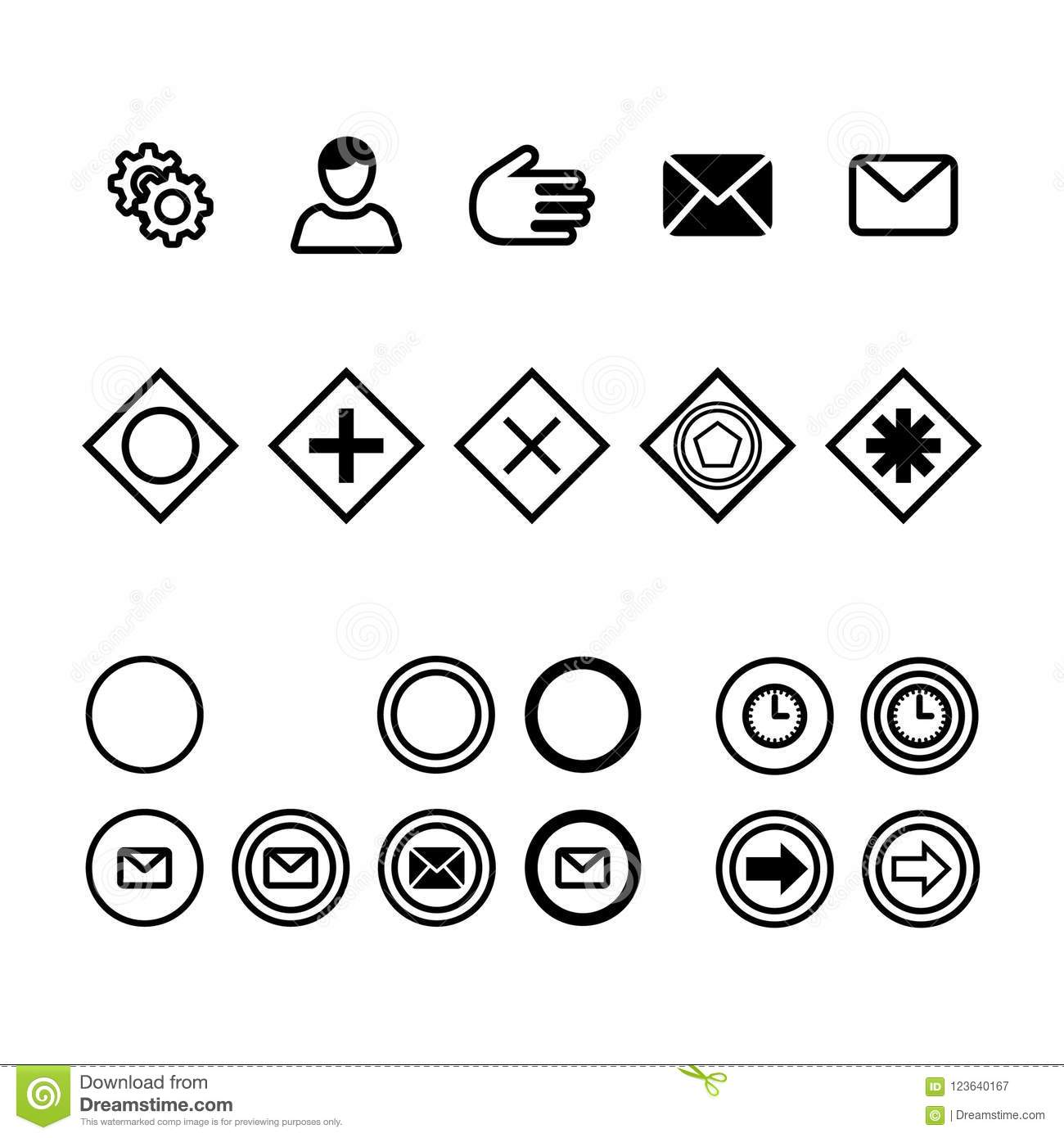 Icons For Business Process Diagrams Flat Vector