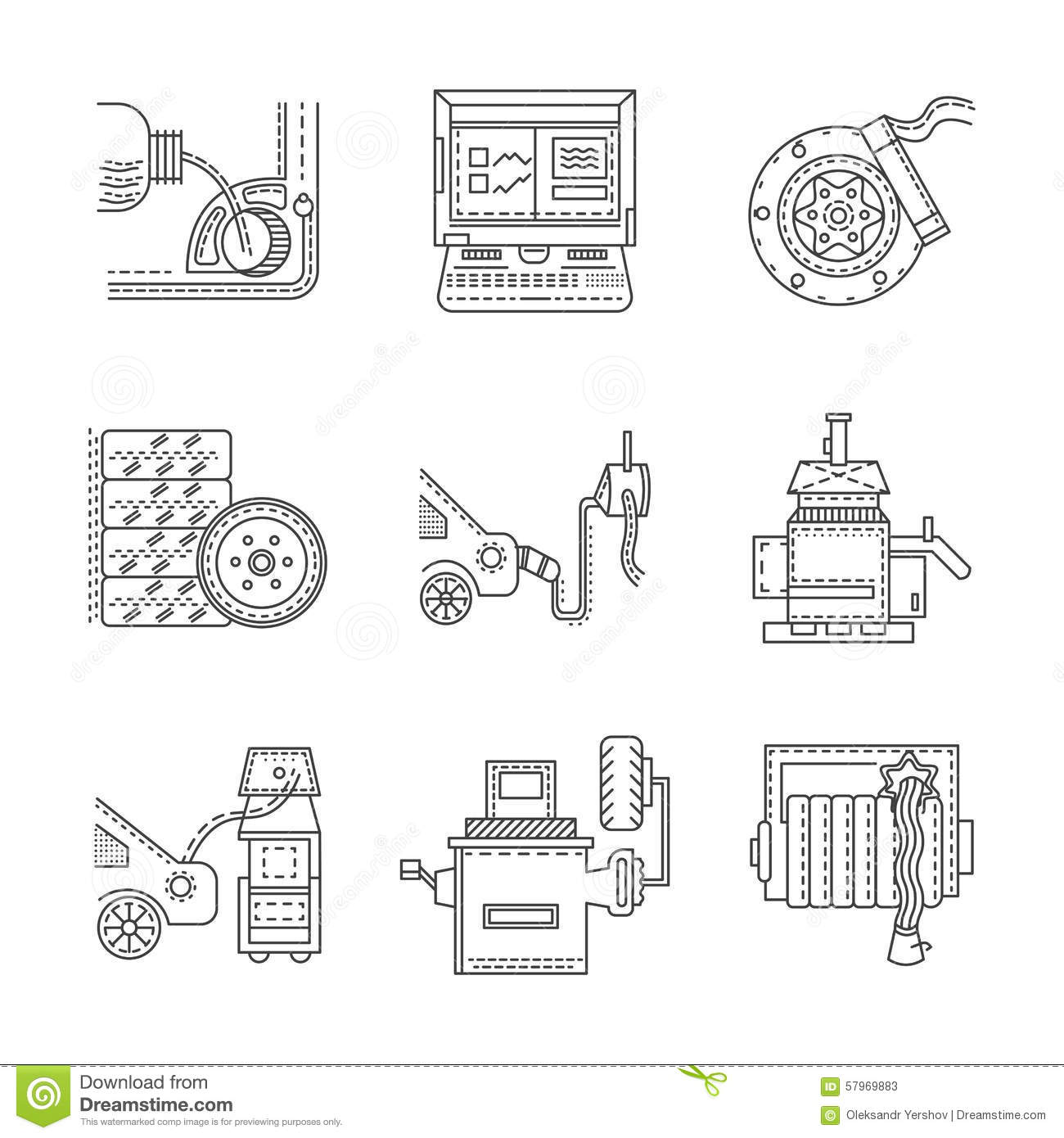 Icons For Car Service Stock Illustration Illustration Of