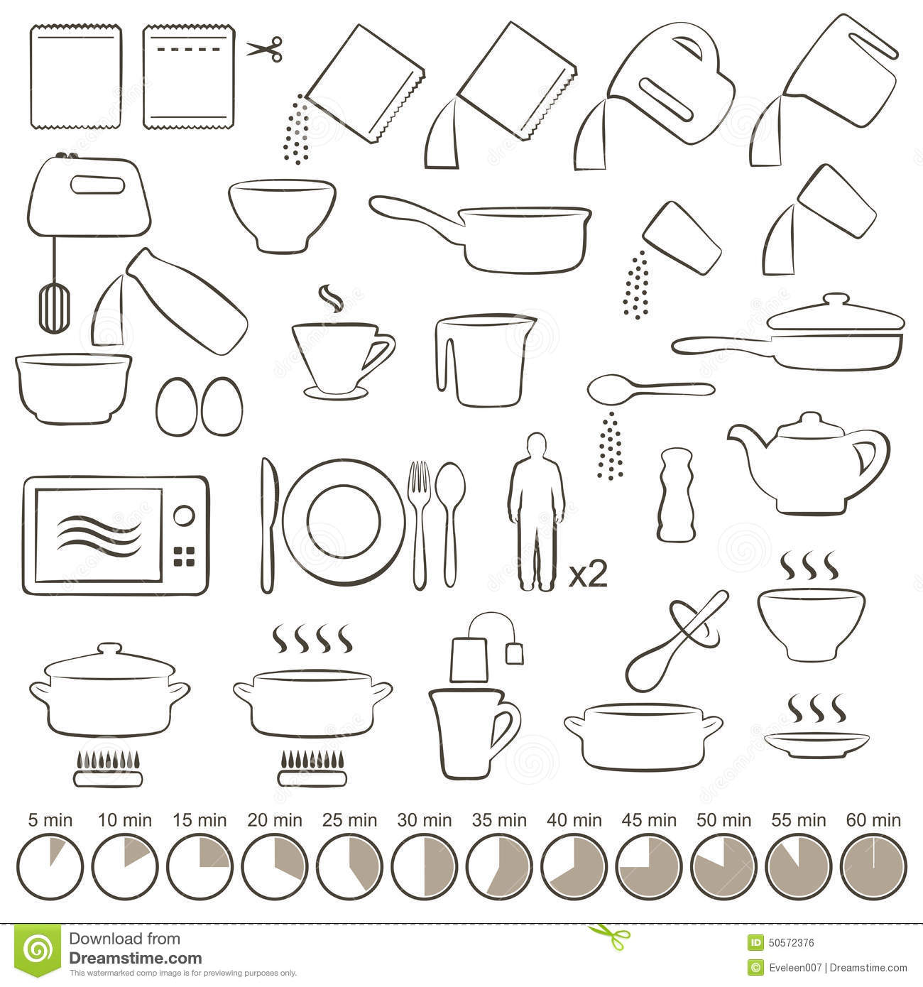 Icons cooking stock vector. Illustration of instruction