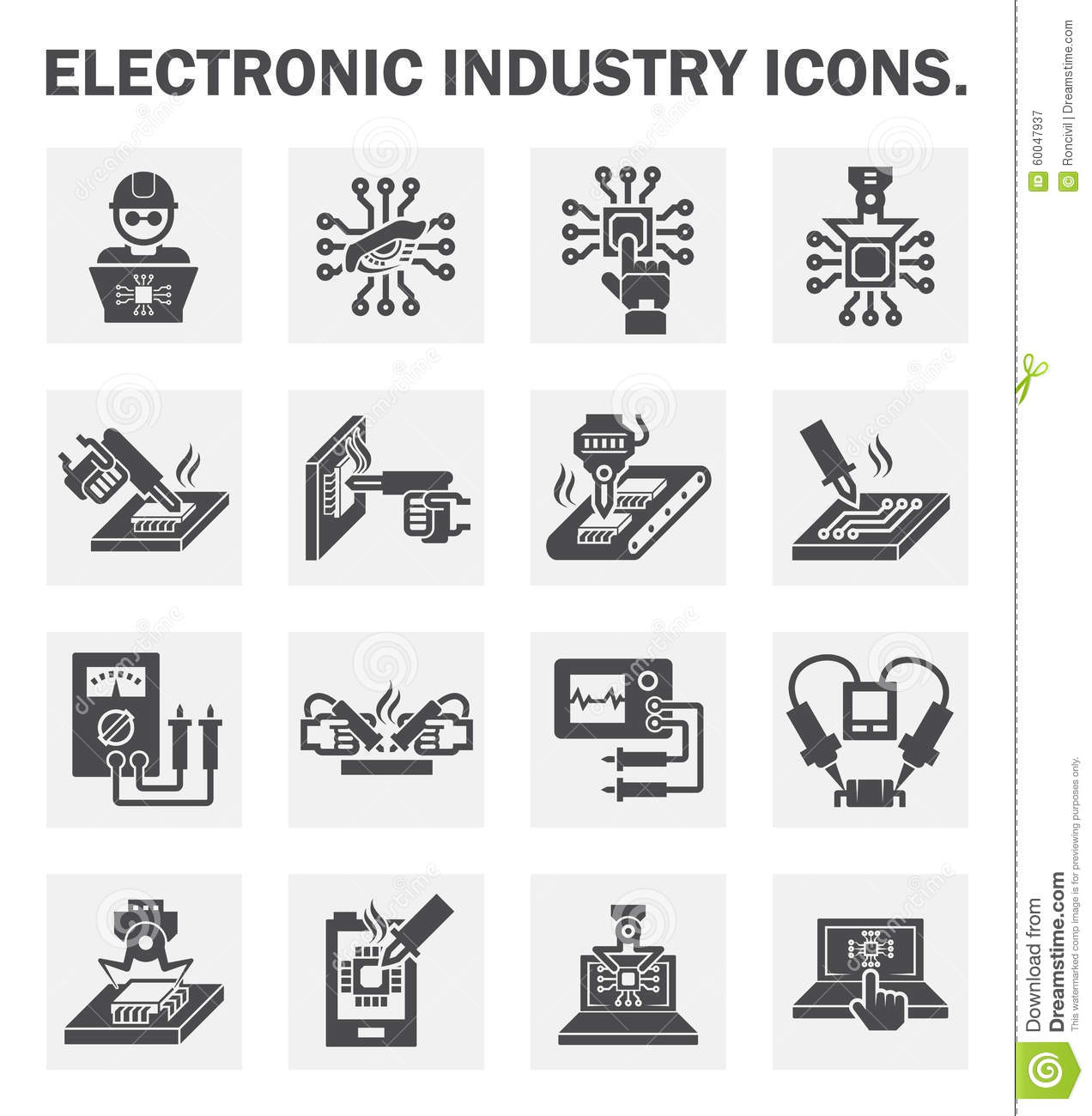 Icons Stock Vector Illustration Of Laboratory Microchip