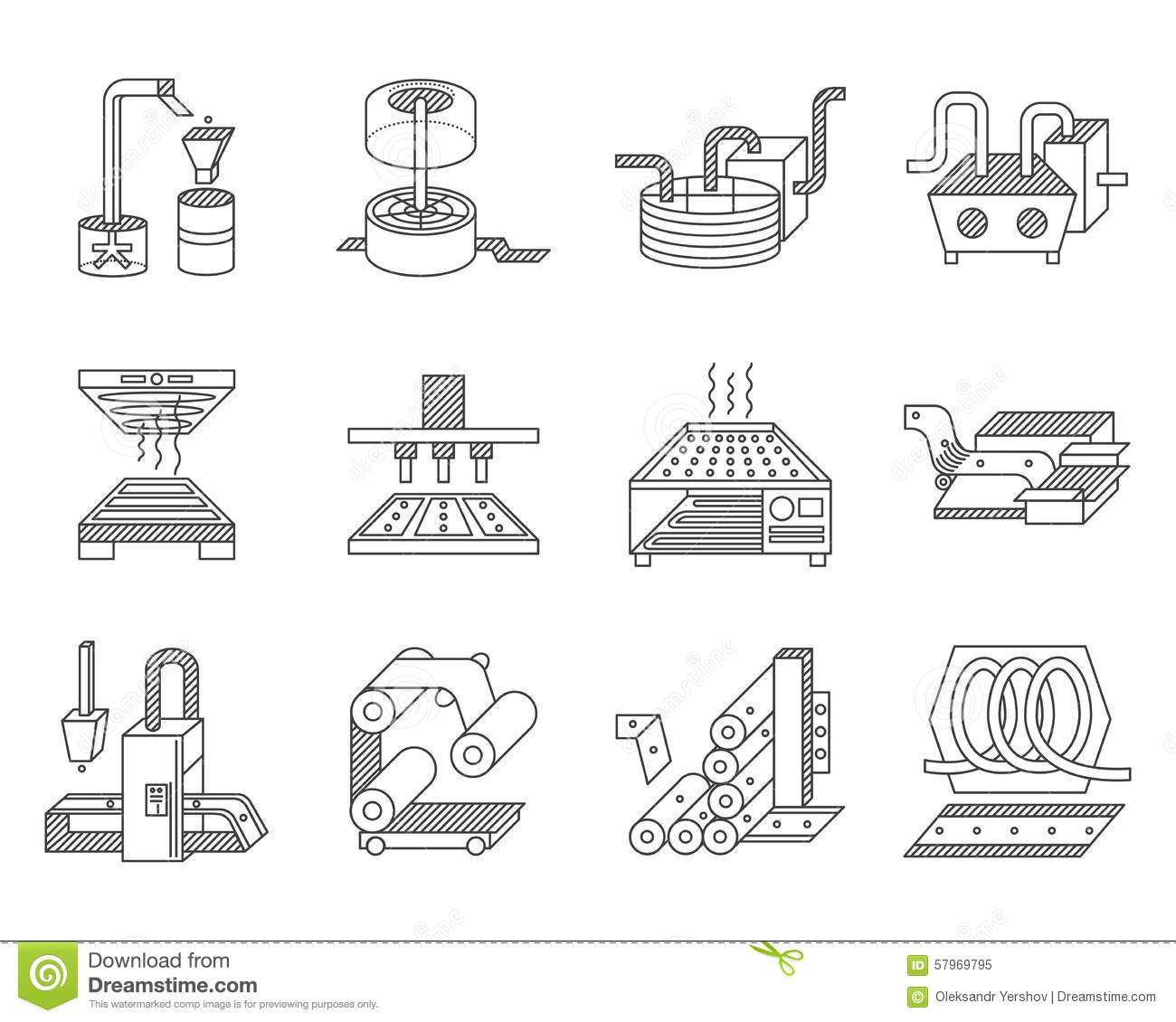 Icons For Food Processing Industry Stock Illustration