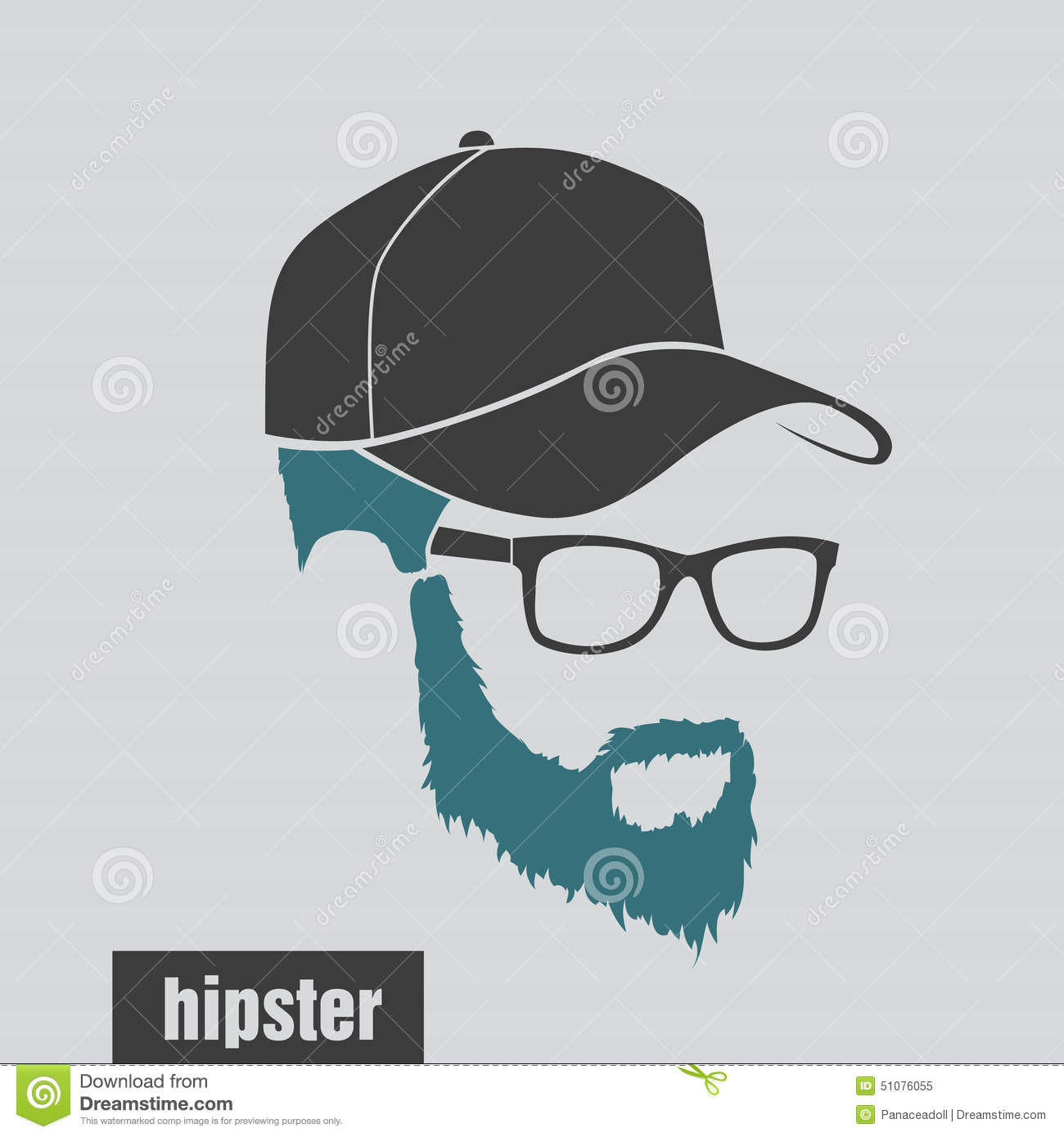 Icons Hairstyles Beard And Mustache Hipster Full Stock