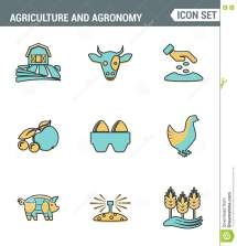 White Icon Farming And Agriculture Cartoon Vector