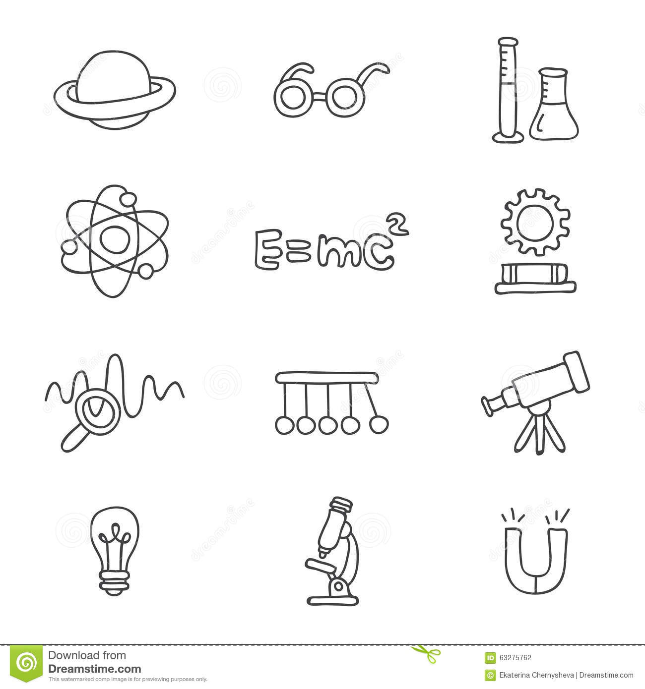 Icons On The Physics Stock Vector