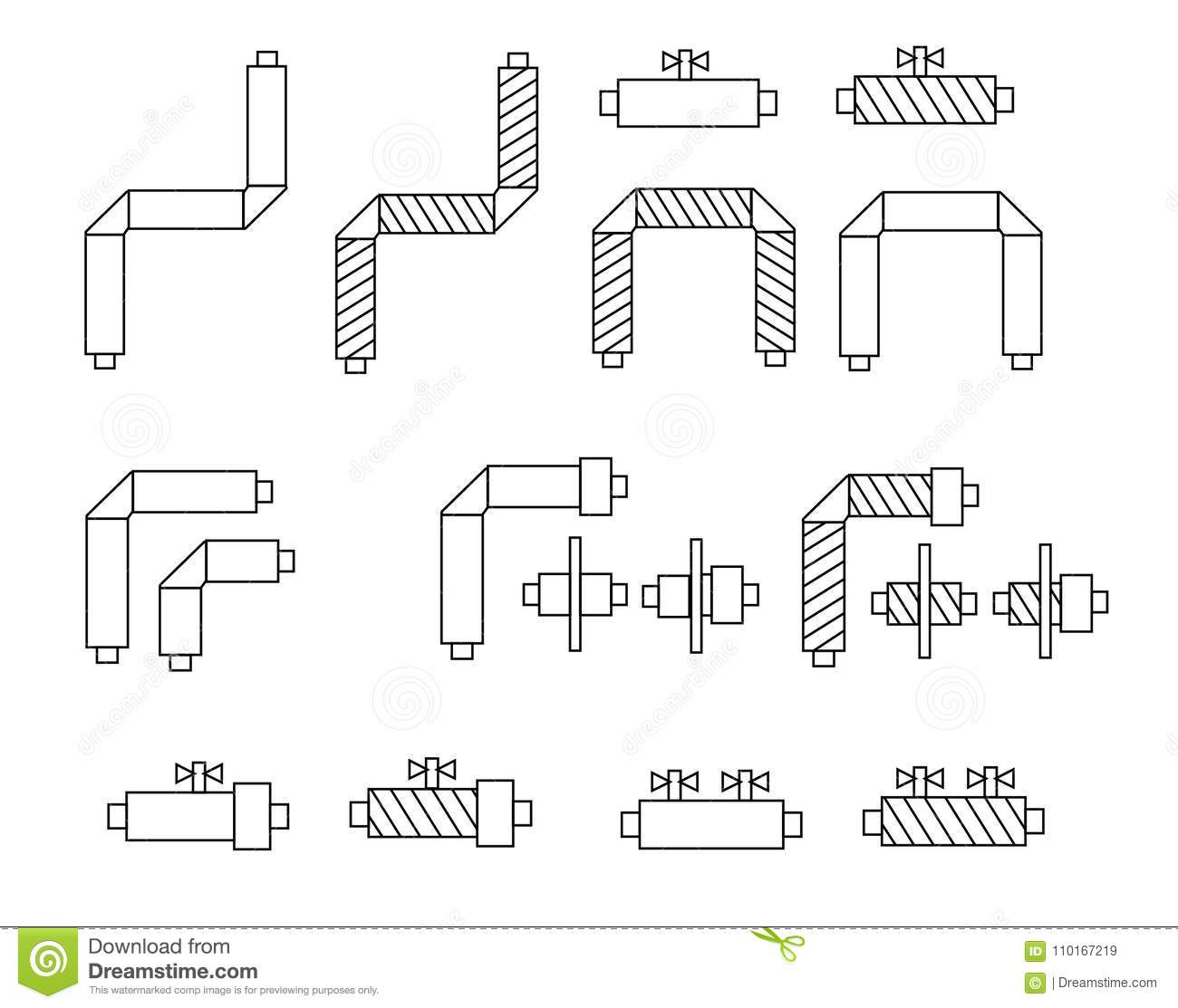 hight resolution of icons of pipes in polyurethane foam insulation and schematic diagram components for websites posters banners