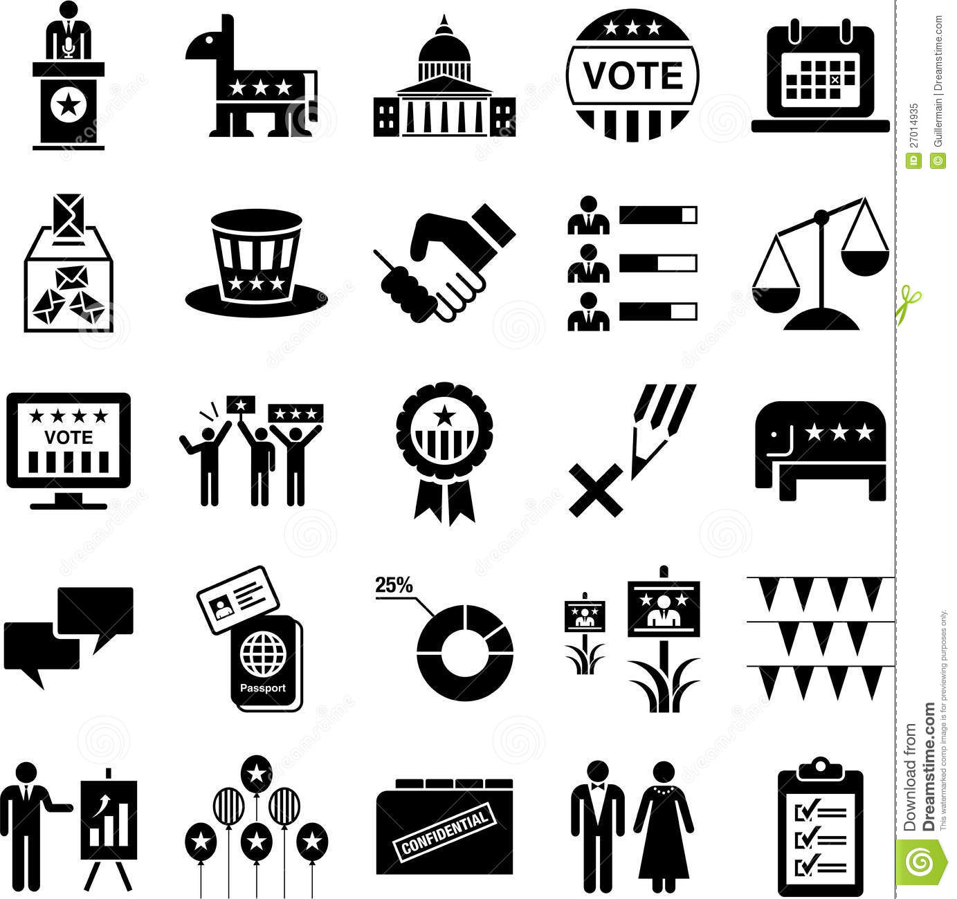 Icons Of Politics And American Elections Stock Vector