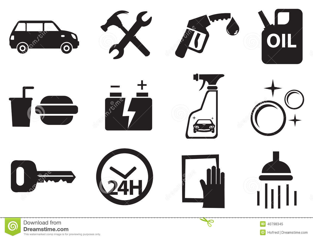 Icons For Services At Petrol Station Stock Vector