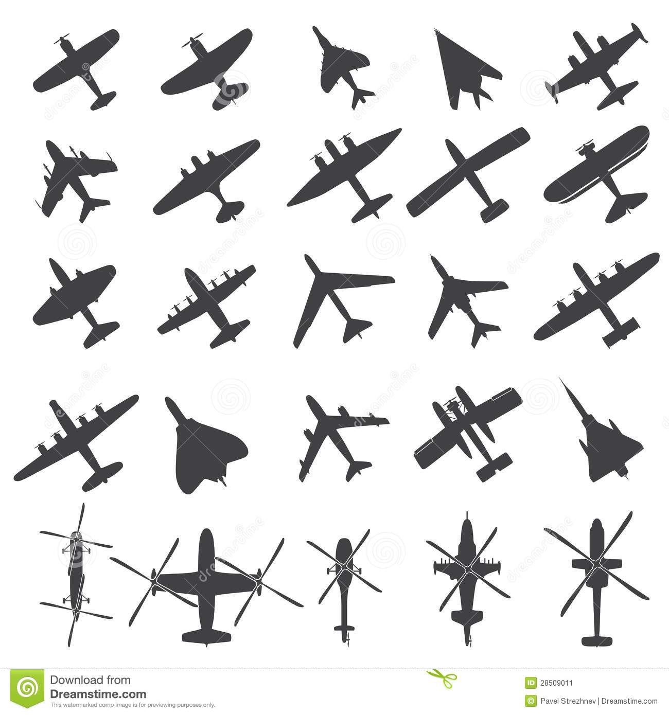 Icons Set Airplanes Stock Vector Illustration Of Military