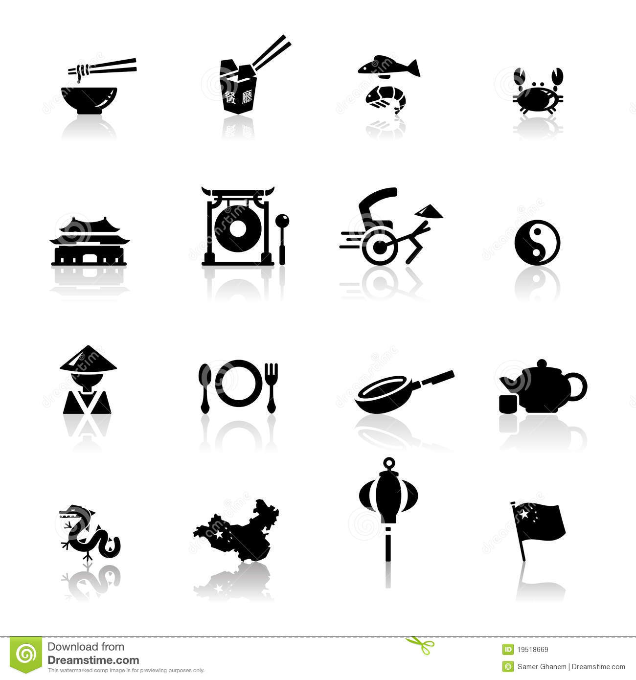 Icons Set Chinese Cuisine And Culture Royalty Free Stock