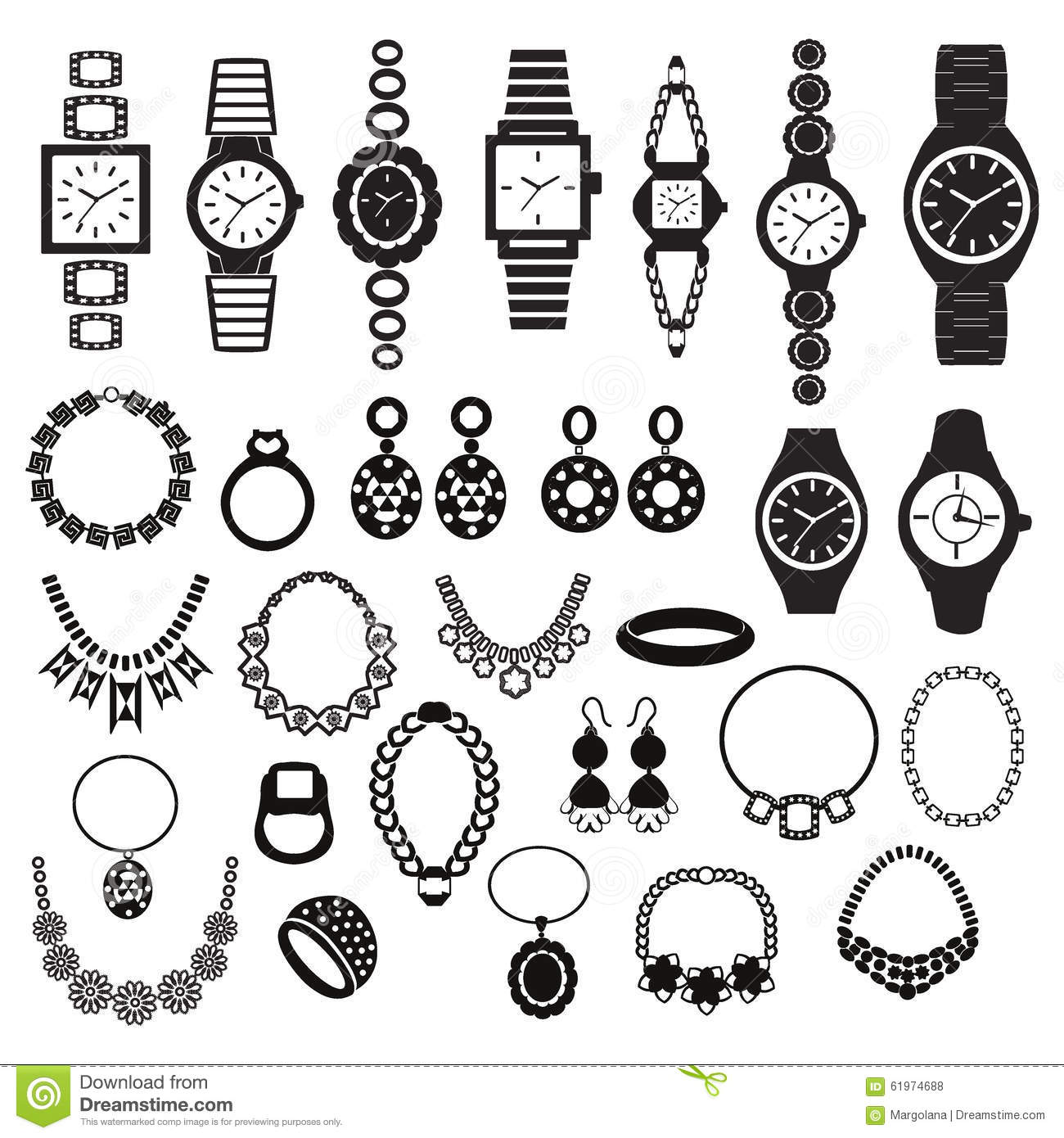 Icons Set With Fashion Watches And Jewelry Stock Vector
