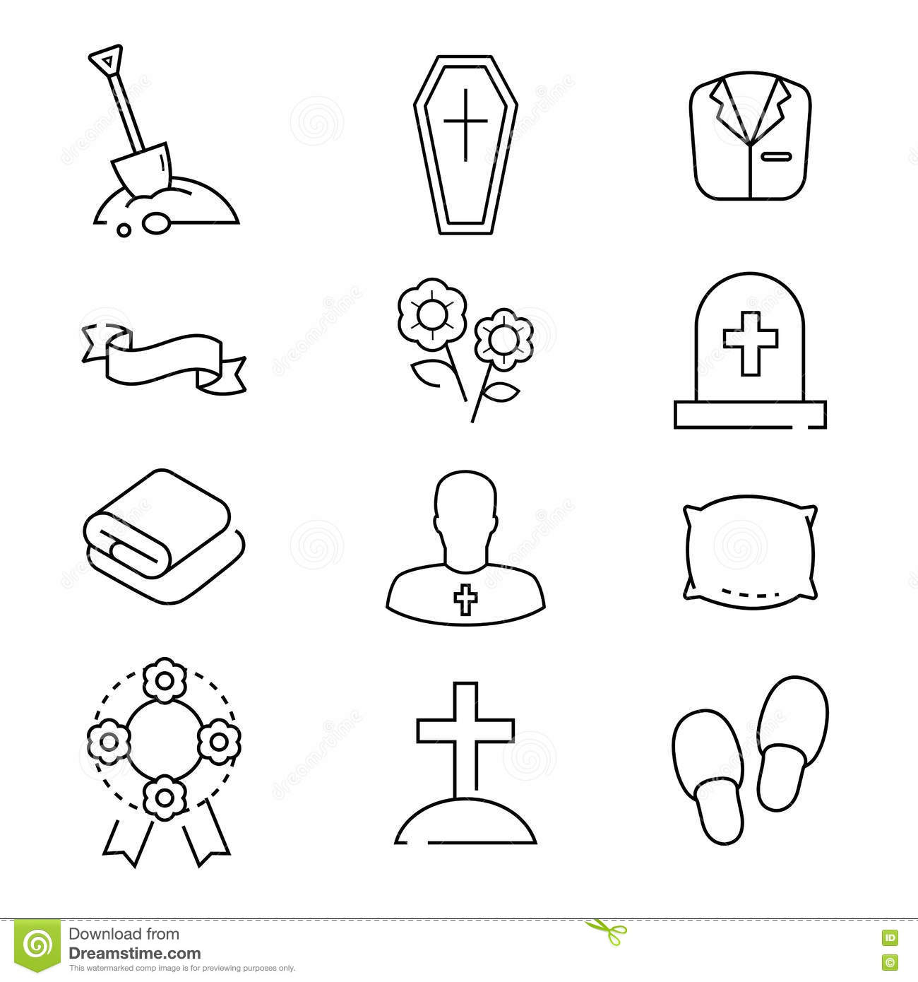 Icons Set For Funeral Agency Line Symbols On White