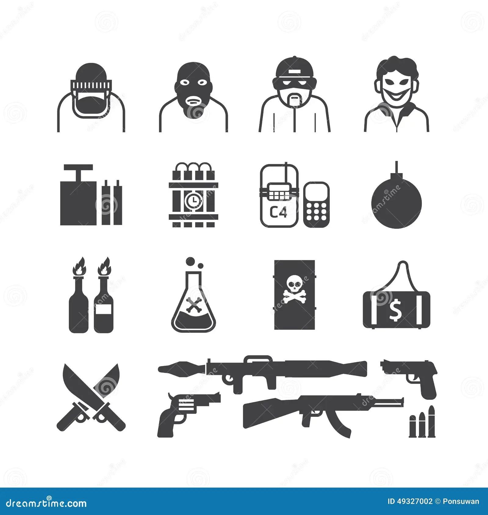 Icons Set Terrorist Vector Black Colour Design. Stock