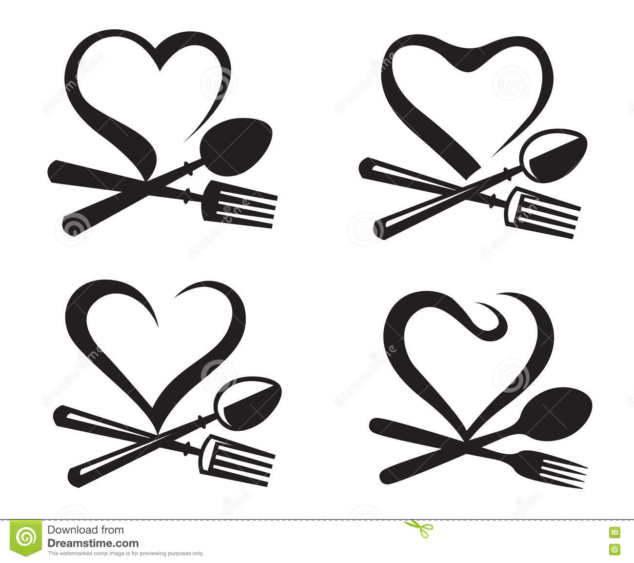 Icons With Spoon Fork And Heart Stock Vector