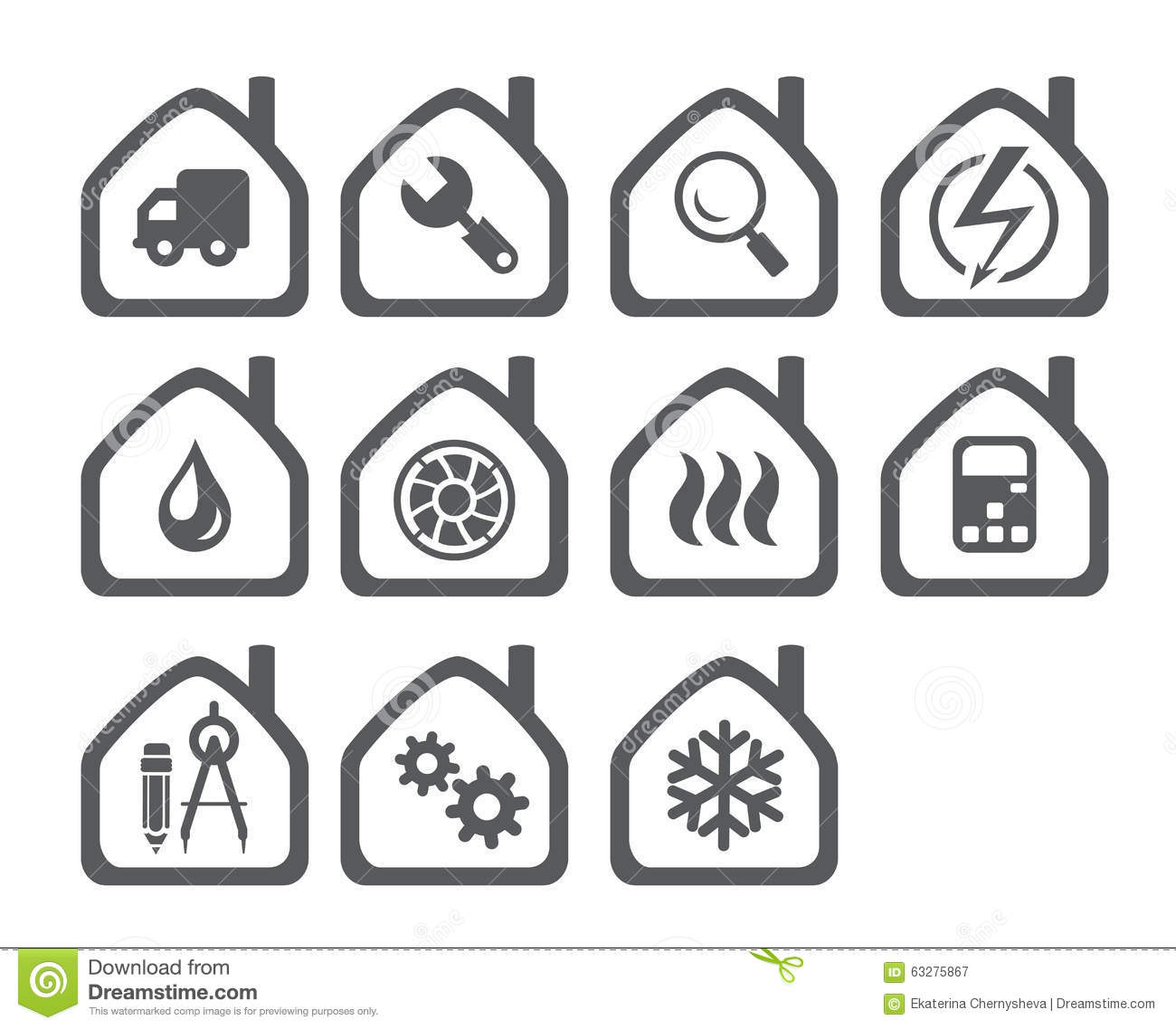 Icons Of The Systems Engineering Stock Vector
