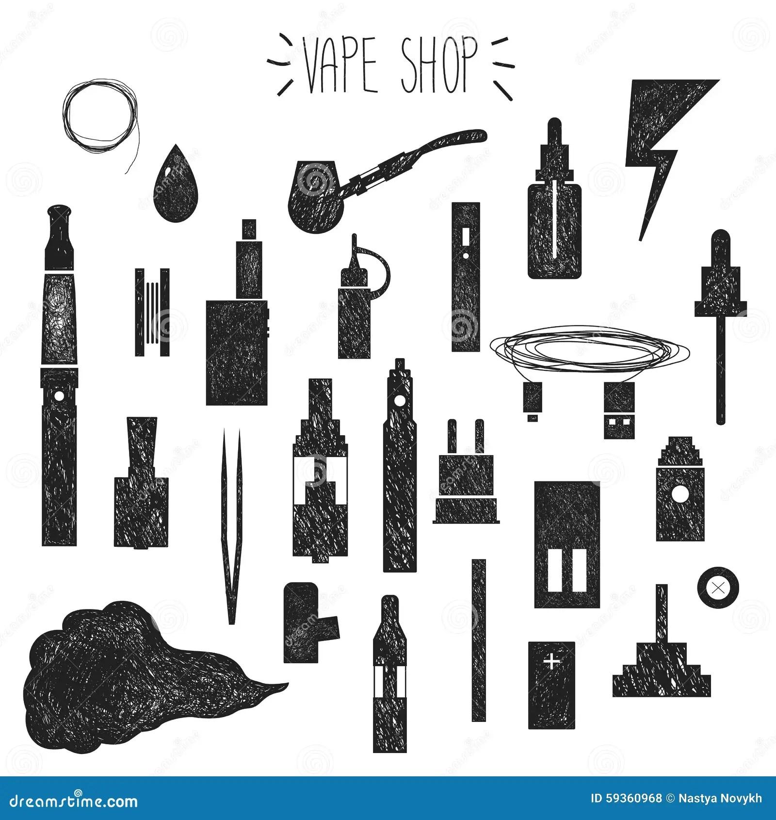 Icons Vape Hand Graphics Stock Vector