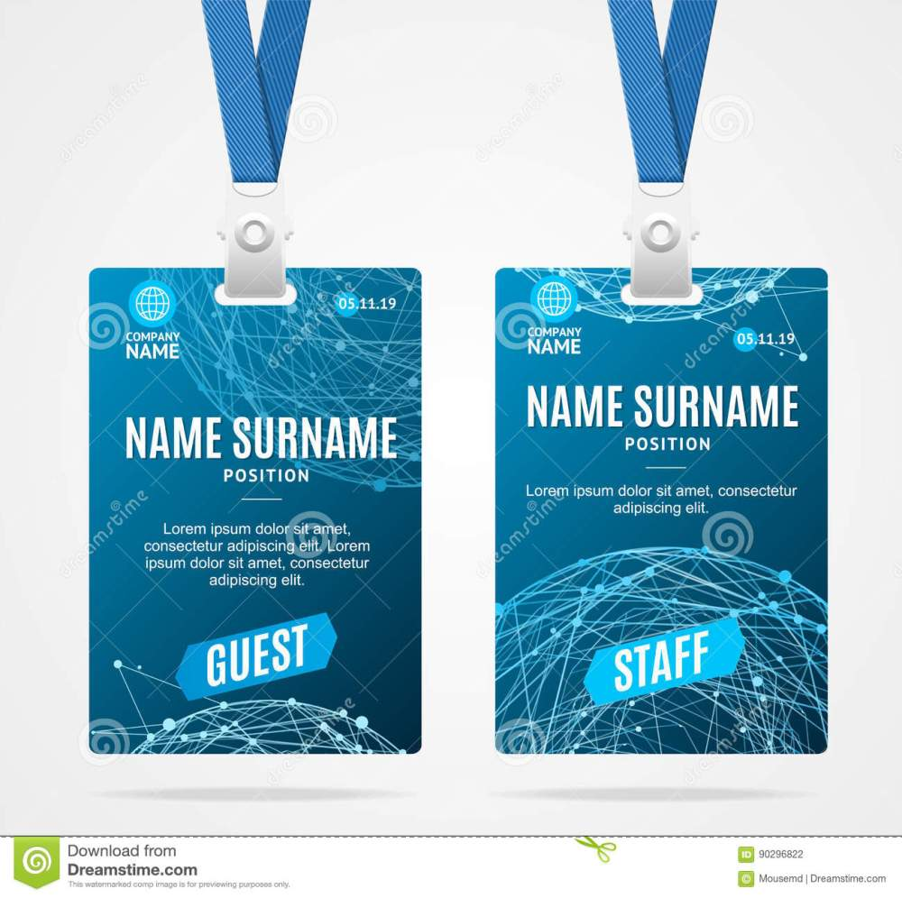 medium resolution of id card template plastic badge with blue abstract geometric sphere vector illustration