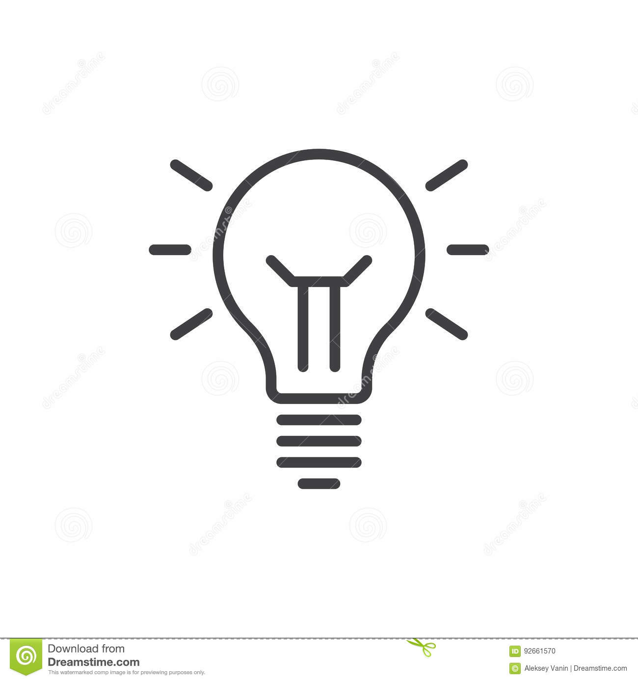 Idea Lamp Line Icon Outline Vector Sign Linear Style