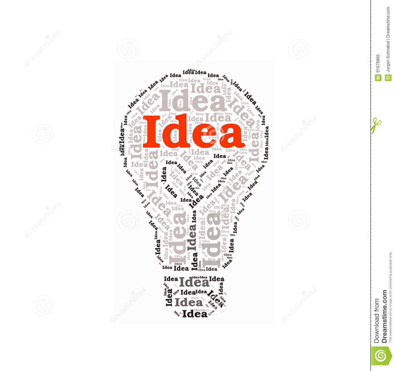 Idea Word Collage In A Lightbulb Stock Vector