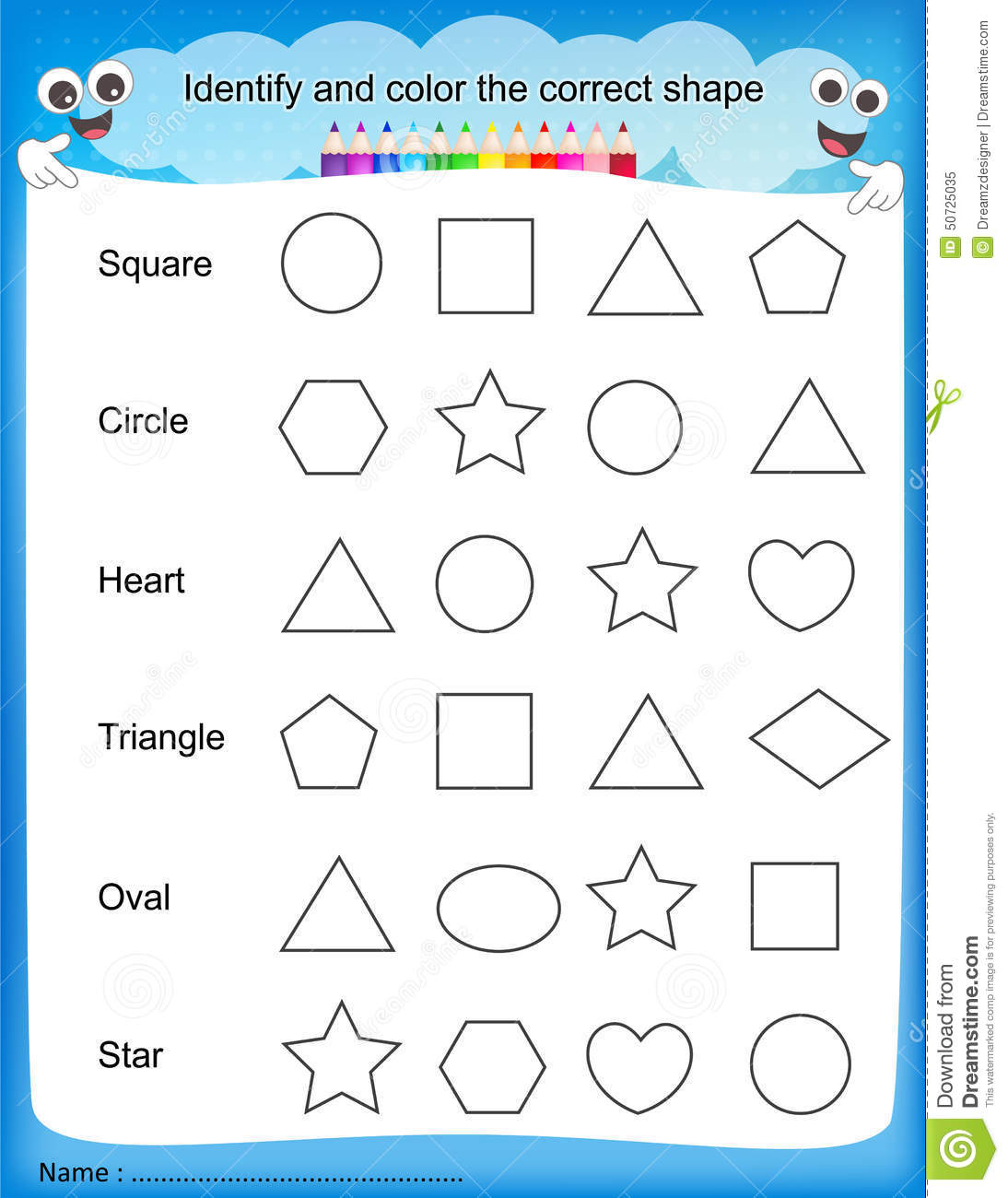 Identify And Color The Correct Shape Worksheet Stock Vector