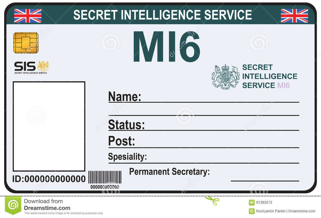 Identity A Secret Agent Of Mi 6 Stock Vector