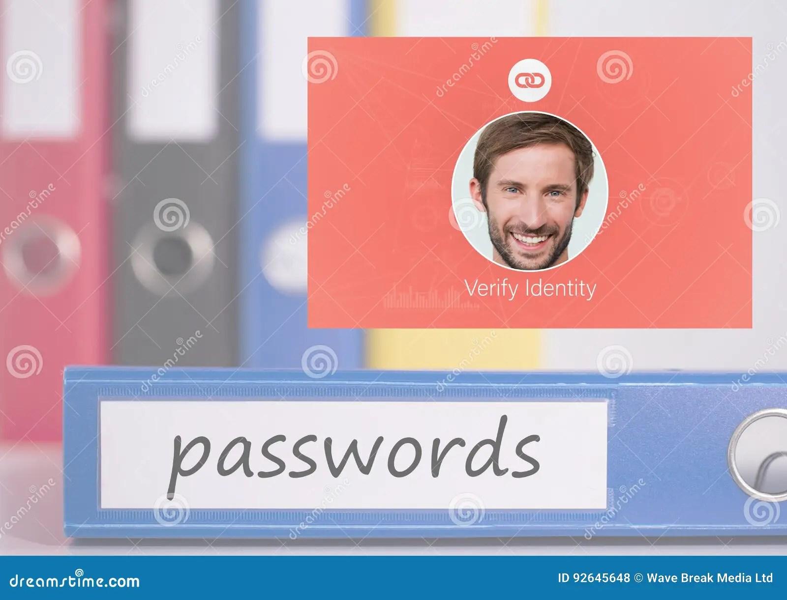 Identity Verify Passwords App Interface Stock Photo