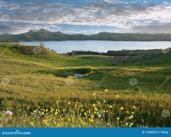 idyllic landscape with lake stock