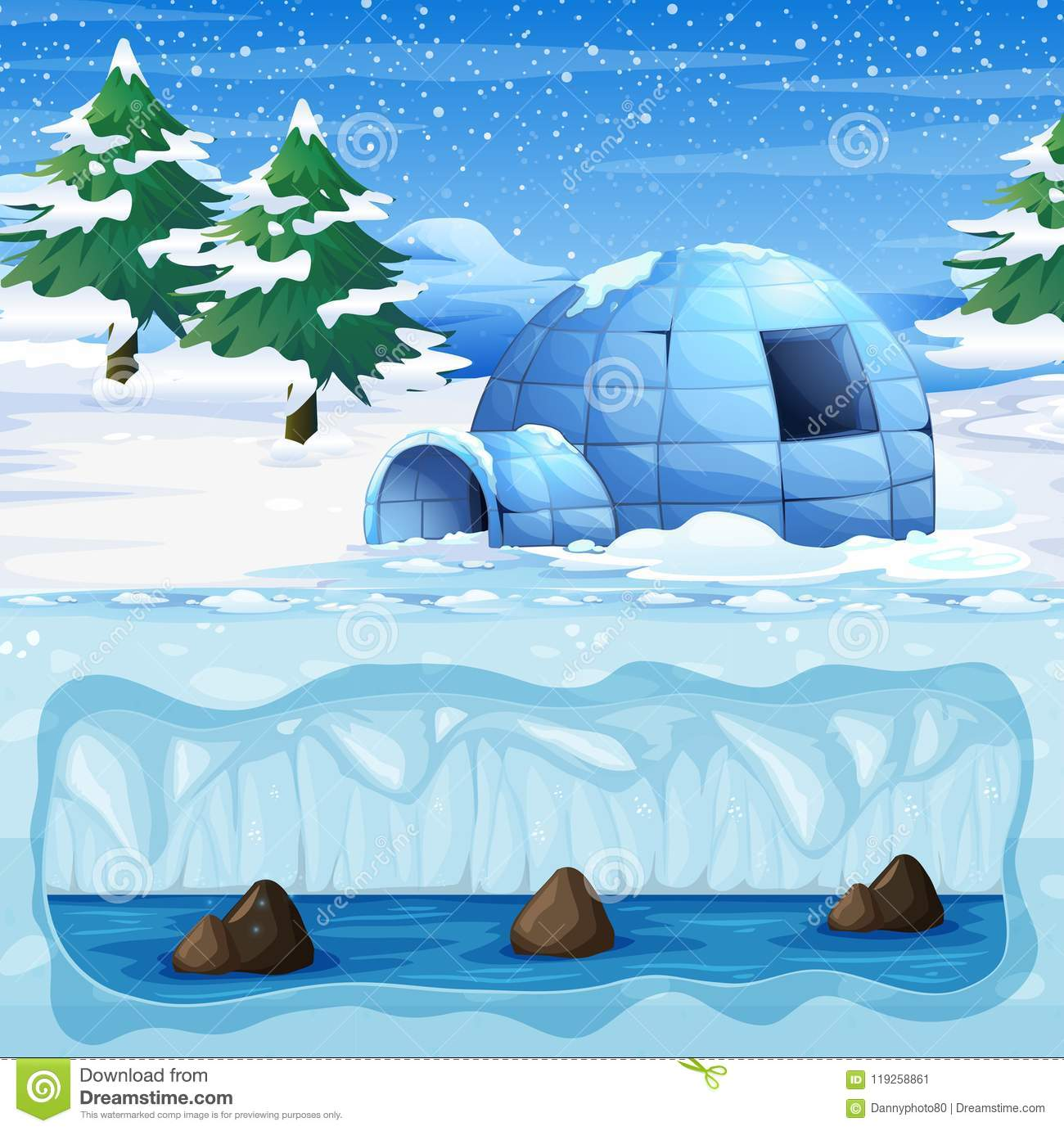 hight resolution of igloo in the cold north pole