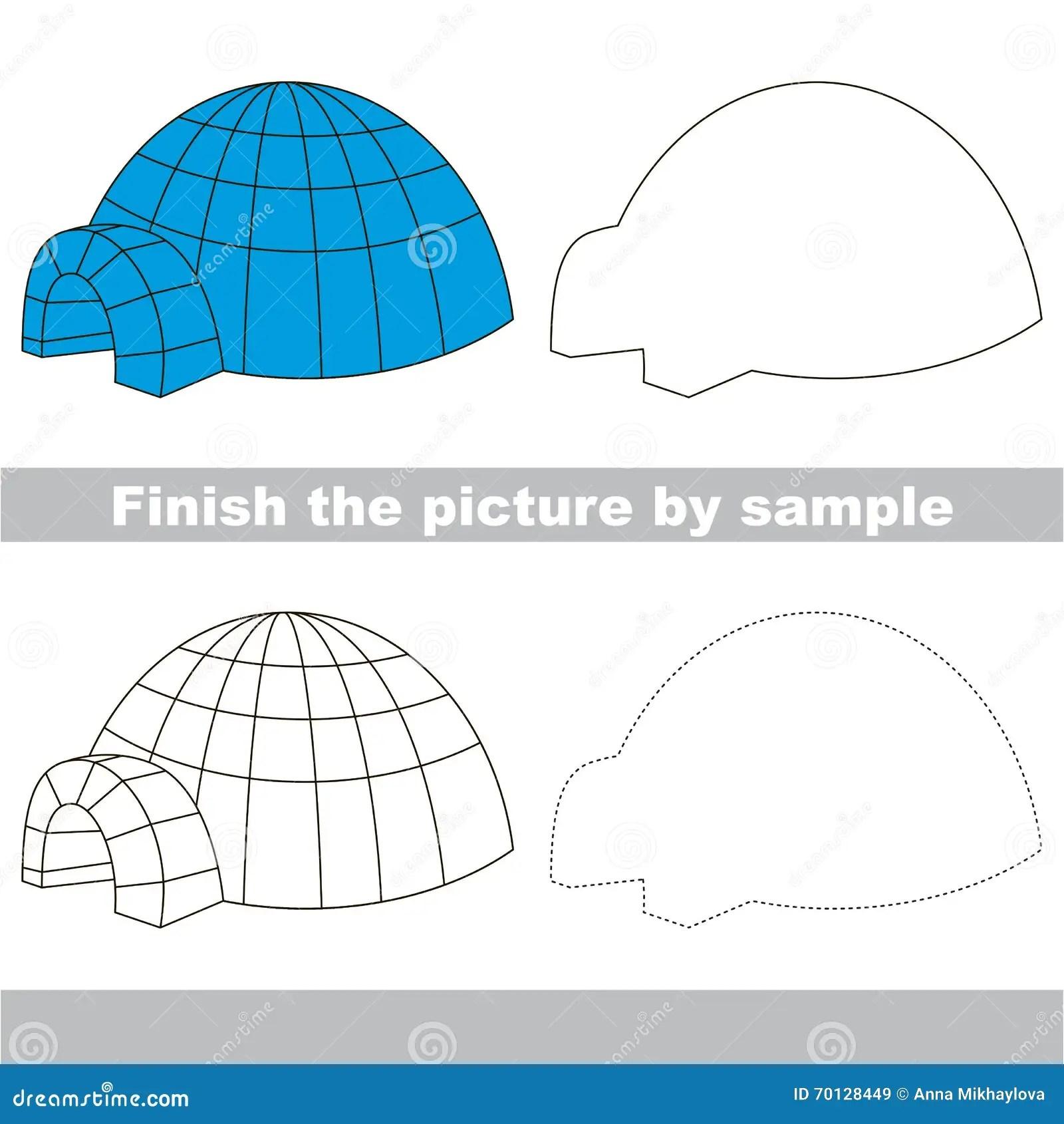 Igloo Drawing Worksheet Stock Vector Illustration Of