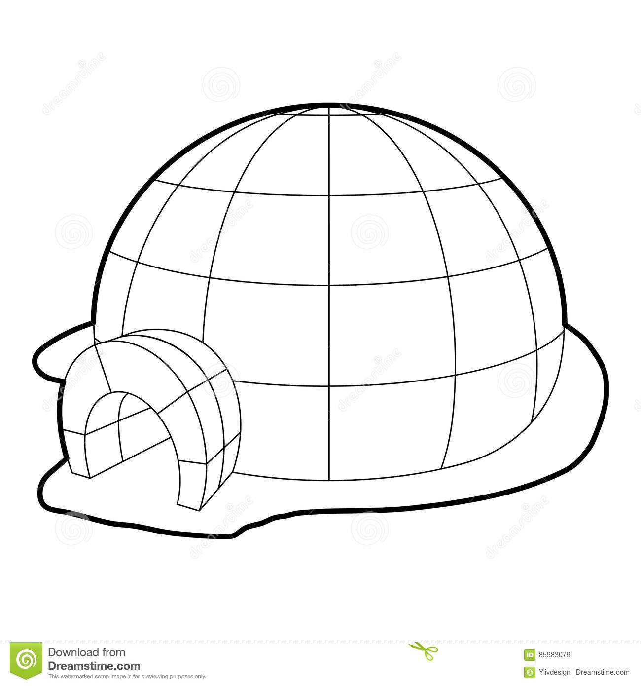 Igloo Icon Outline Style Stock Vector Illustration Of