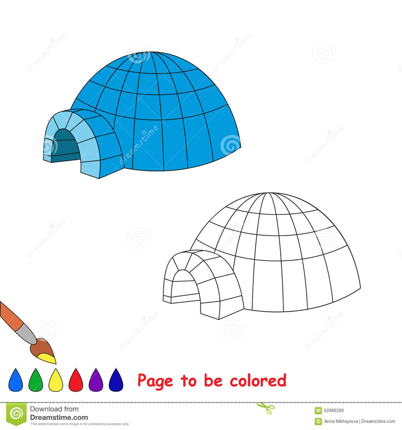 Igloo Vector Cartoon To Be Colored Stock Vector